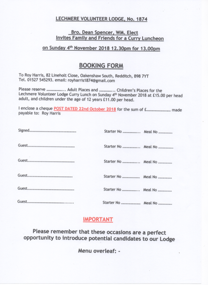 Balti, Nov, Booking Form